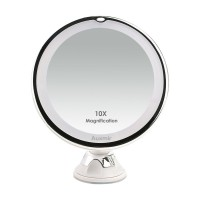 Auxmir 10X Magnifying LED Lighted Makeup Mirror Vanity Cosmetic Mirror with 14 Natural White LED, Suction Base & 360° Rotation, Ideal for Bathroom & Travel, Batteries Included