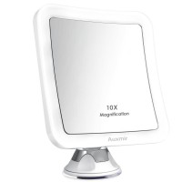 Auxmir 10X Magnifying LED Lighted Makeup Mirror with Suction Base, 360° Swivel, Cordless Vanity Mirror for Home and Travel, Battery Included