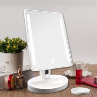 Auxmir LED Lighted Vanity Makeup Mirror with 10X Magnifying Spot Mirror, Touch Screen, Auto Off, 180° Rotation Tabletop Cosmetic Mirror for Makeup, Shaving and Facial Care